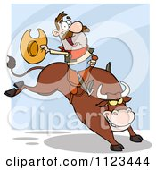 Cartoon Of A Happy Rodeo Cowboy On A Bucking Bull Royalty Free Vector Clipart