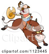 Cartoon Of A Rodeo Cowboy On A Bucking Bull Royalty Free Vector Clipart by Hit Toon