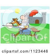 Cartoon Of A Charging Jousting Knight Near A Castle Royalty Free Vector Clipart