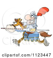 Cartoon Of A Charging Jousting Knight Holding A Lance Royalty Free Vector Clipart