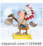 Cartoon Of A Native American Indian Chief On Horseback With A Rifle On A Cliff Royalty Free Vector Clipart by Hit Toon