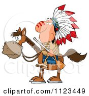 Native American Indian Chief On Horseback With A Rifle