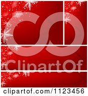 Clipart Of Red Snowflake Christmas Banners Royalty Free Vector Illustration by dero