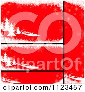 Clipart Of Red Evergreen Christmas Banners Royalty Free Vector Illustration by dero