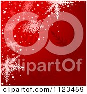 Clipart Of A Red Snowflake Winter Christmas Background Royalty Free Vector Illustration