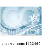 Clipart Of A Blue Snowflake Winter Christmas Background Royalty Free Vector Illustration