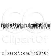 Clipart Of A Silhouetted Crowd Of Dancers 20 Royalty Free Vector Illustration
