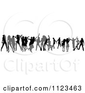 Clipart Of A Silhouetted Crowd Of Dancers 22 Royalty Free Vector Illustration