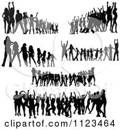 Clipart Of Silhouetted Dancers 6 Royalty Free Vector Illustration
