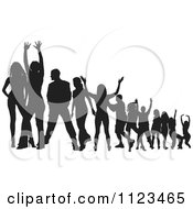 Clipart Of A Silhouetted Crowd Of Dancers 23 Royalty Free Vector Illustration