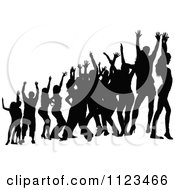 Clipart Of A Silhouetted Crowd Of Dancers 24 Royalty Free Vector Illustration