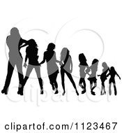 Clipart Of Silhouetted Dancing And Posing Women Royalty Free Vector Illustration