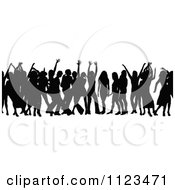 Clipart Of A Silhouetted Crowd Of Dancers 13 Royalty Free Vector Illustration