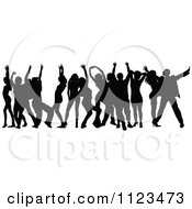 Clipart Of A Silhouetted Crowd Of Dancers 15 Royalty Free Vector Illustration