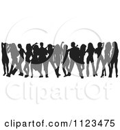 Clipart Of A Silhouetted Crowd Of Dancers 16 Royalty Free Vector Illustration