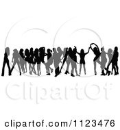 Clipart Of A Silhouetted Crowd Of Dancers 17 Royalty Free Vector Illustration