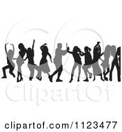 Clipart Of A Silhouetted Crowd Of Dancers 18 Royalty Free Vector Illustration