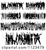 Clipart Of Silhouetted Dancers 4 Royalty Free Vector Illustration