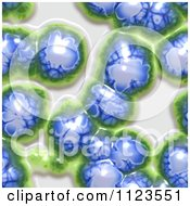 Clipart Of A Seamless Blue Brain Jelly Or Bacteria Background Pattern Royalty Free CGI Illustration
