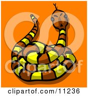 Yellow And Brown Rattlesnake Clipart Illustration by Leo Blanchette