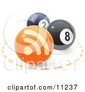 2 And 8 Pool Balls With An Orange RSS Symbol Ball Clipart Illustration by Leo Blanchette