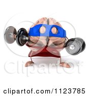 Clipart Of A 3d Super Brain Character Lifting Dumbbells 1 Royalty Free CGI Illustration