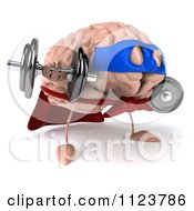 Clipart Of A 3d Super Brain Character Lifting Dumbbells 2 Royalty Free CGI Illustration