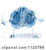 Clipart Of A 3d Blue Glass Brain Shrugging Royalty Free CGI Illustration by Julos