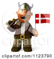 Clipart Of A 3d Viking With A Norway Flag 1 Royalty Free CGI Illustration by Julos