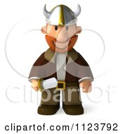 Clipart Of A 3d Viking Standing With A Sword Royalty Free CGI Illustration by Julos