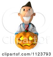 Clipart Of A 3d Doctor Smiling And Holding A Halloween Jackolantern Pumpkin Royalty Free CGI Illustration