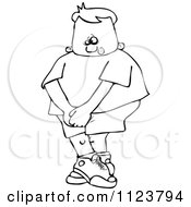 Cartoon Of An Outlined Boy Needing To Use The Restroom Royalty Free Vector Clipart