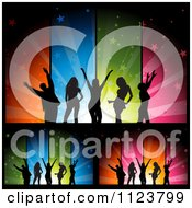 Clipart Of Silhouetted Dancers Over Colorful Star Burst Banners Royalty Free Vector Illustration