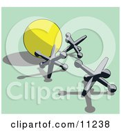 Silver Jacks And A Yellow Ball Clipart Illustration