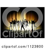 Clipart Of Silhouetted Dancers Over Gold Lights Royalty Free Vector Illustration