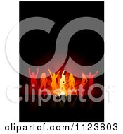 Clipart Of Silhouetted Orange Dancers Over Red Lights On Black Royalty Free Vector Illustration