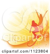 Clipart Of Orange Silhouetted Woman Dancing On Rays And Grunge Royalty Free Vector Illustration