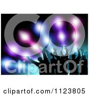 Clipart Of Silhouetted Men Waving Their Arms Over Colorful Lights Royalty Free Vector Illustration