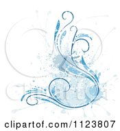 Clipart Of A Floral Design With Grunge And A Blue Splash Royalty Free Vector Illustration