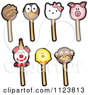 Cartoon Of Clown And Animal Cake Pops Royalty Free Vector Clipart