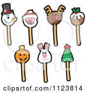 Cartoon Of Holiday Cake Pops Royalty Free Vector Clipart