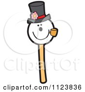 Cartoon Of A Snowman Cake Pop Dessert Royalty Free Vector Clipart