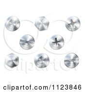 3d Silver Screws And Bolts