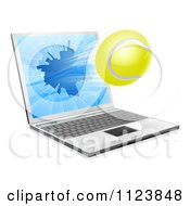Clipart Of A Tennis Ball Flying Through And Shattering A 3d Laptop Screen Royalty Free Vector Illustration