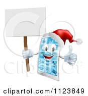 Clipart Of A 3d Happy Christmas Cell Phone Mascot Holding A Sign Thumb Up And Wearing A Santa Hat Royalty Free Vector Illustration