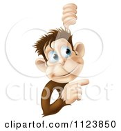 Clipart Of A Happy Monkey Pointing To A Sign Royalty Free Vector Illustration