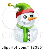 Clipart Of A Cute Snowman In A Scarf And Elf Hat Royalty Free Vector Illustration