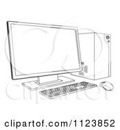 Outlined Desktop Computer Work Station