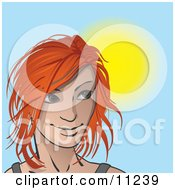 Red Haired Woman On A Sunny Day Looking To The Right Clipart Illustration