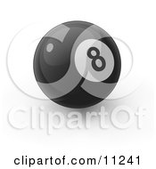 Black 8 Ball On A White Background Clipart Illustration